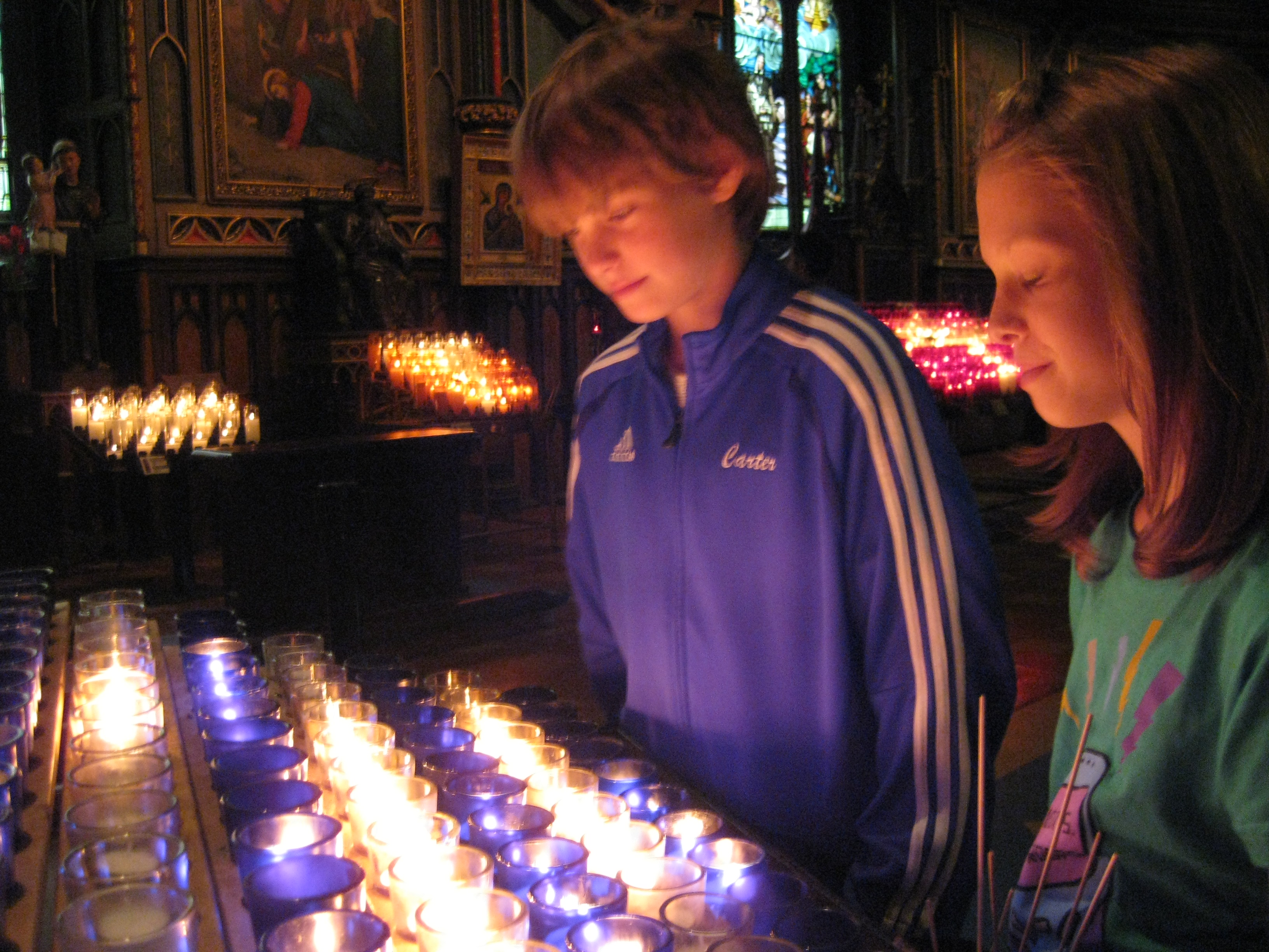 The twiblings at Notre-Dame Basilica in Montreal.